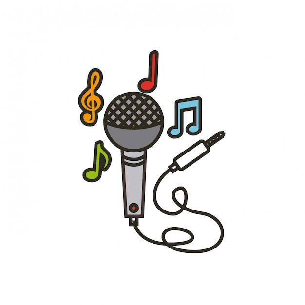 Icona del microfono con cavo Vettore Premium