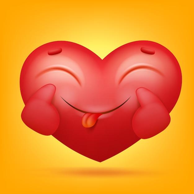 Icona del personaggio dei cartoni animati di smiley emoji cuore Vettore Premium
