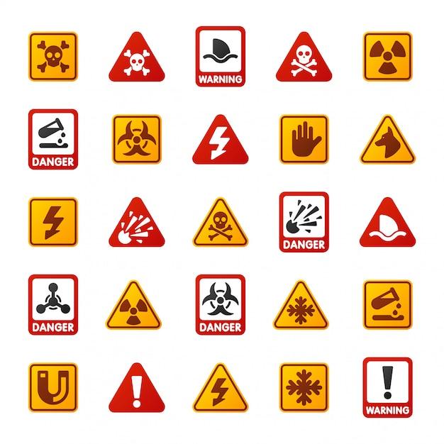 Icona del segno di pericolo Vettore Premium