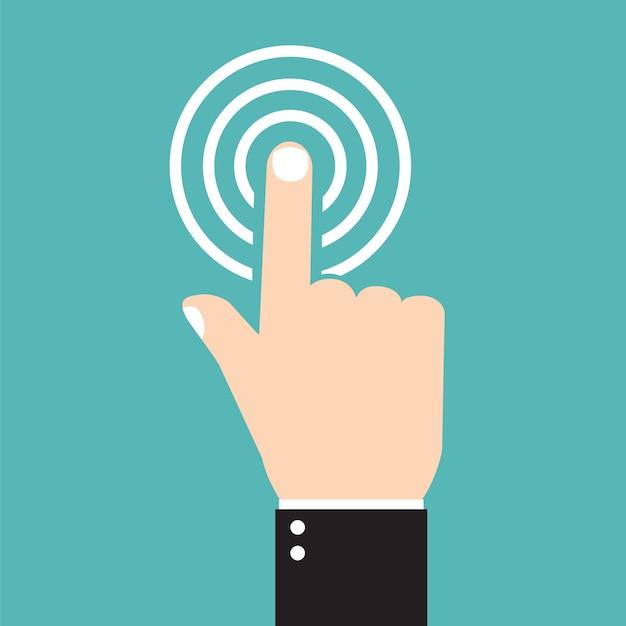 Icona del segno di spunta di vettore, icona del tocco, icone piane, mano con dito premuto, stile piatto Vettore Premium