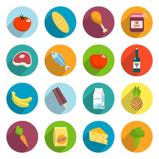 Icona del supermercato in linea icone piatte di pesce di carne frutta e verdura isolato illustrazione vettoriale Vettore gratuito