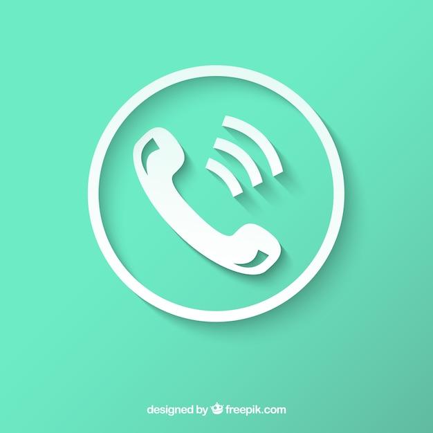 Icona del telefono bianco Vettore gratuito