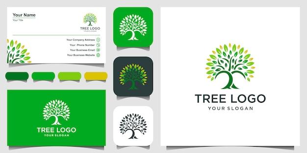 Icona dell'albero. elementi. modello e biglietto da visita verdi di logo del giardino Vettore Premium