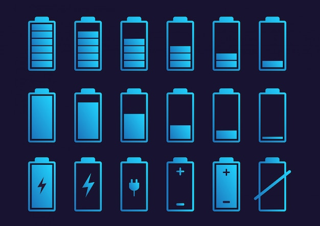 Icona dell'indicatore di carica della batteria. Vettore Premium