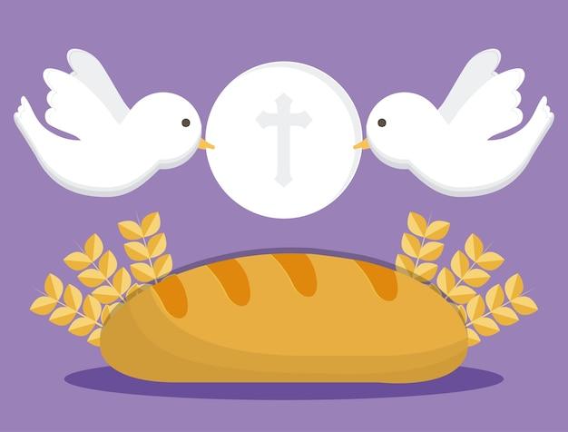 Icona dell'orecchio di grano pane colomba Vettore Premium