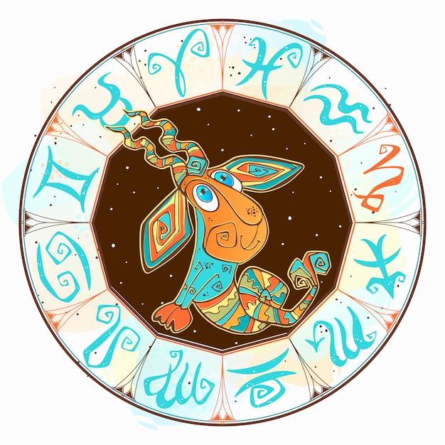 Icona dell'oroscopo per bambini. zodiac per bambini. segno capricorno Vettore Premium