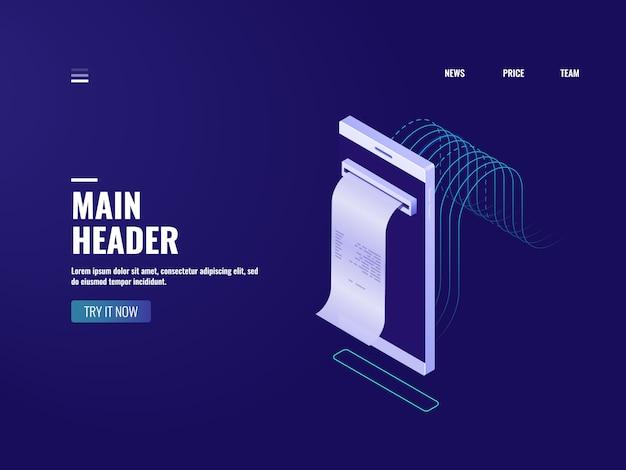 Icona della banca online, fattura dell'elettrone e concetto di imposta, ordine d'acquisto, messaggio degli sms con il pagamento Vettore gratuito