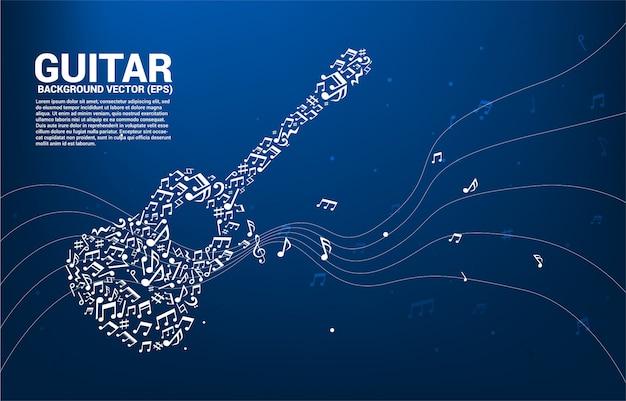 Icona della chitarra di forma di flusso di dancing della nota di melodia di musica di vettore Vettore Premium