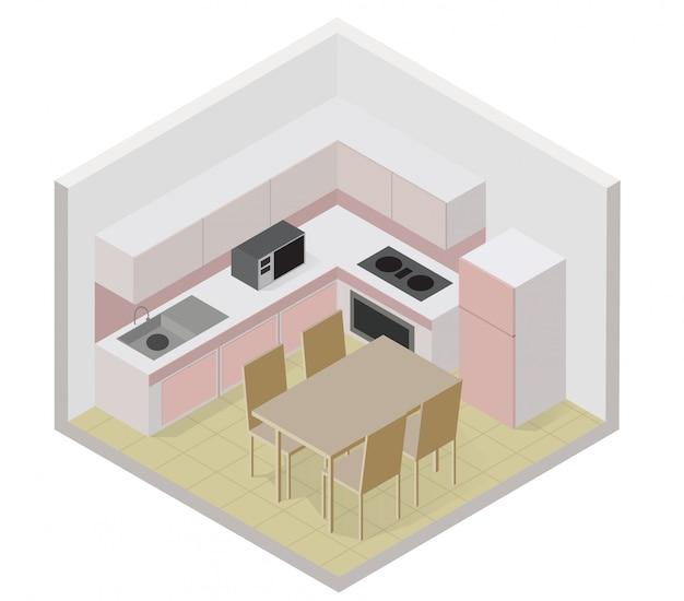 Icona della cucina isometrica con un tavolo e una sedia Vettore Premium