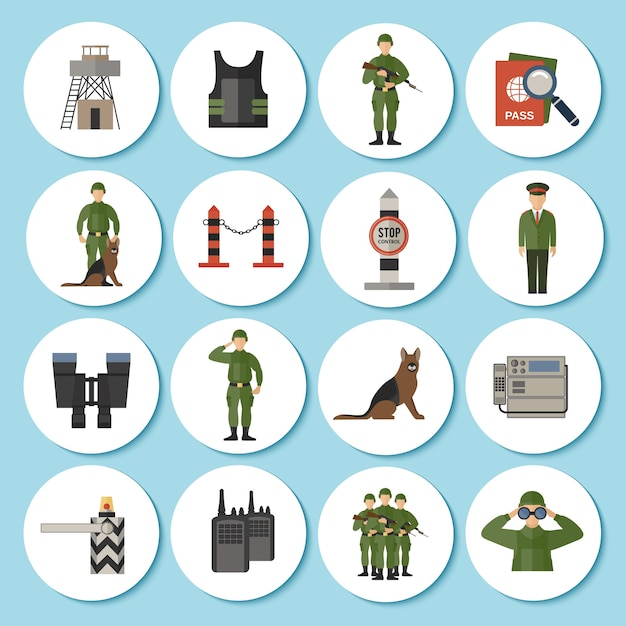 Icona della guardia di frontiera piatta Vettore gratuito