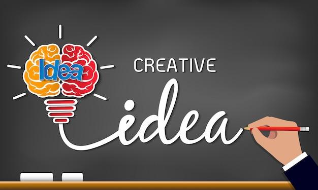 Icona della lampadina di idea creativa. scintilla successo nell'ispirazione di affari che attinge lavagna Vettore Premium