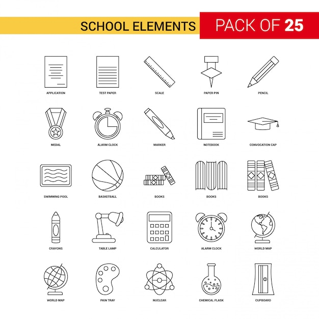Icona della linea nera degli elementi della scuola Vettore gratuito