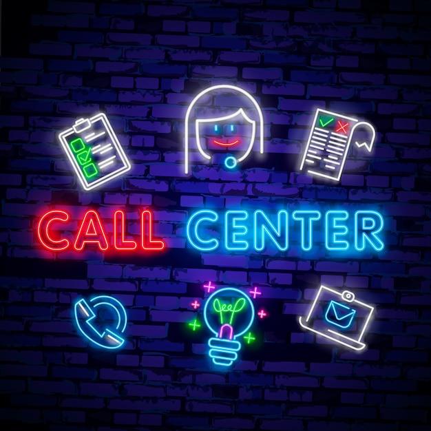 Icona della luce al neon dell'operatore di call center. Vettore Premium
