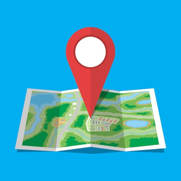 Icona della mappa della città di carta piegata Vettore Premium
