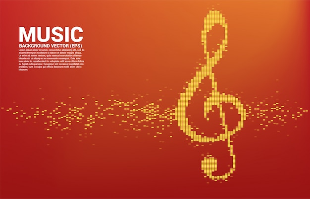 Icona della nota chiave del sol. onda sonora musica sfondo equalizzatore Vettore Premium