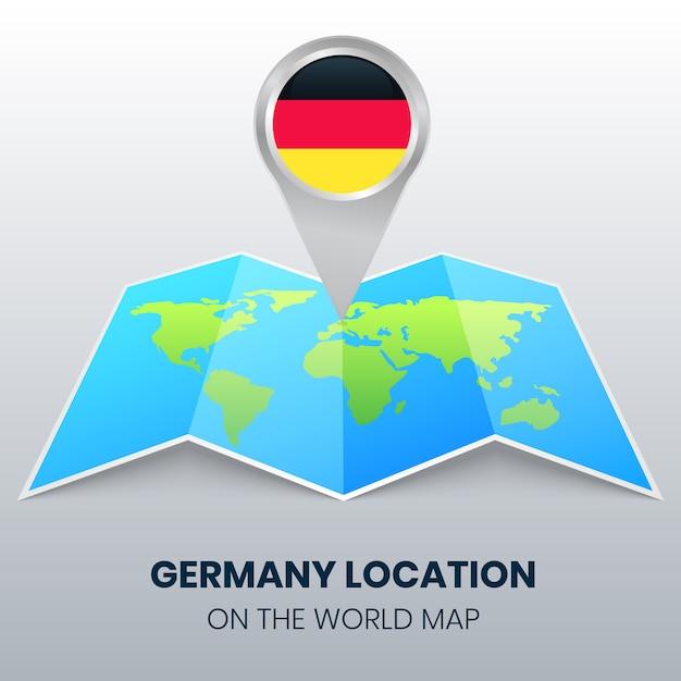Icona della posizione della germania sulla mappa del mondo Vettore Premium