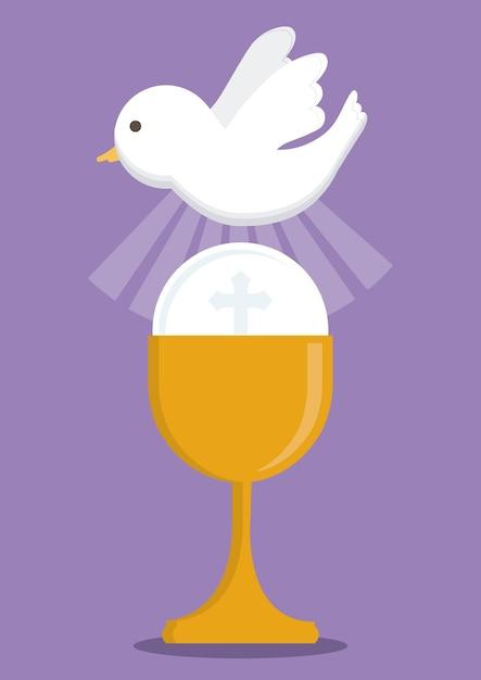 Icona della religione dell'oro della tazza della colomba Vettore Premium