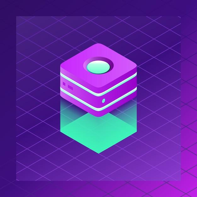 Icona della stanza del server con sfondo sfumato al neon scuro Vettore Premium