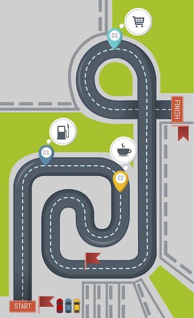 Icona della strada, stile piano Vettore Premium