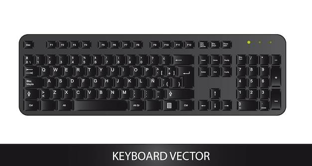 Icona della tastiera su sfondo bianco, illustrazione vettoriale Vettore Premium
