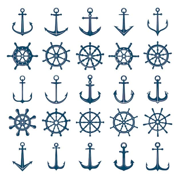 Icona di ancore nave ruote. volanti barca e nave ancore simboli marini e navali. sagome per logo o tatuaggio Vettore Premium