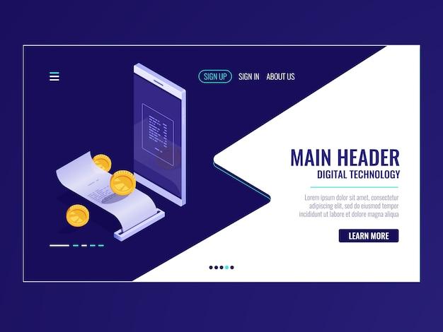 Icona di banking online isometrica, fattura di elettrone di pagamento, sistema di fatturazione, notifica di pagamento Vettore gratuito