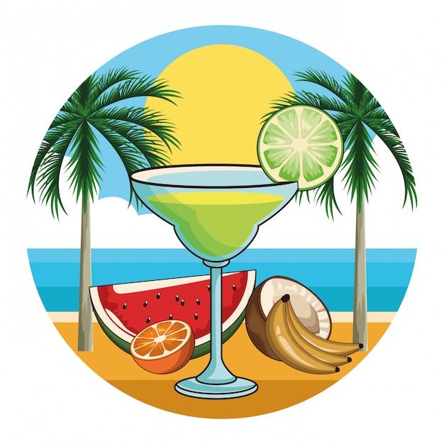 Icona di bevanda cocktail tropicale Vettore Premium