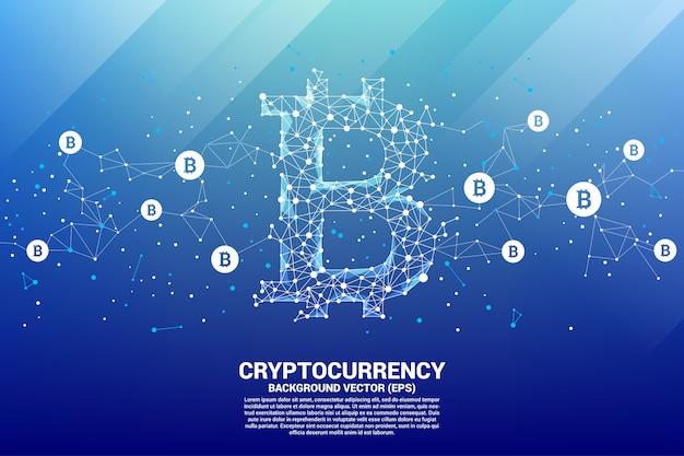 Icona di bitcoin vettoriale da punto poligono collegare linea. concetto per la tecnologia criptovaluta Vettore Premium
