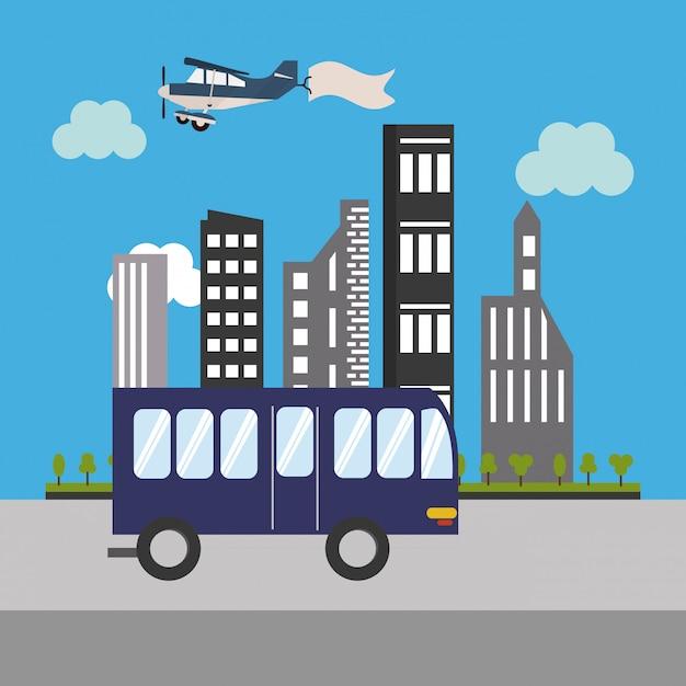 Icona di bus ed edifici urbani Vettore Premium