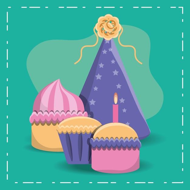 Icona di cappello di compleanno cupcakes e partito su sfondo turchese Vettore Premium