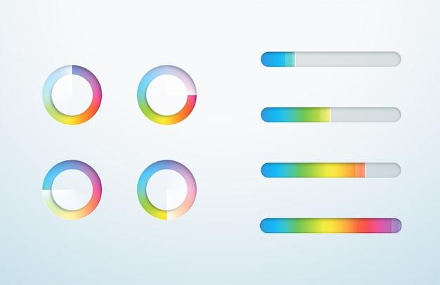 Icona di caricamento barra di avanzamento simbolo set di sfumature Vettore Premium
