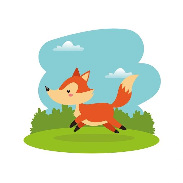 Icona di cartone animato carino volpe scaricare vettori premium