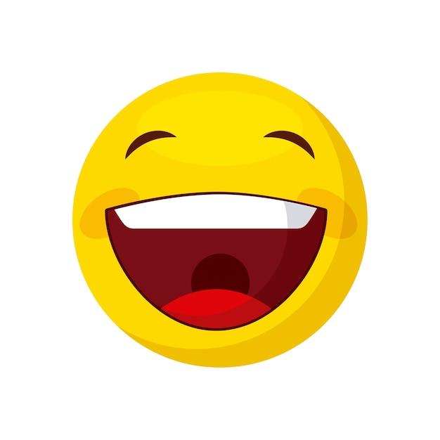Icona di cartone animato emoji felice su sfondo bianco design