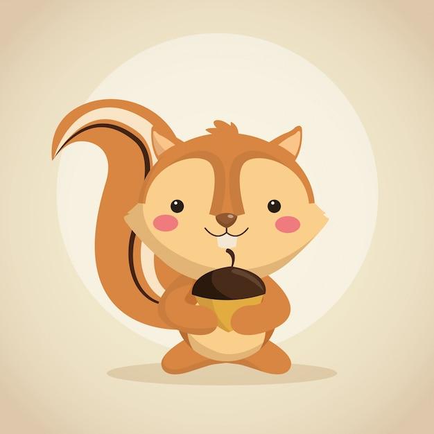 Icona di cartone animato scoiattolo carino scaricare vettori premium
