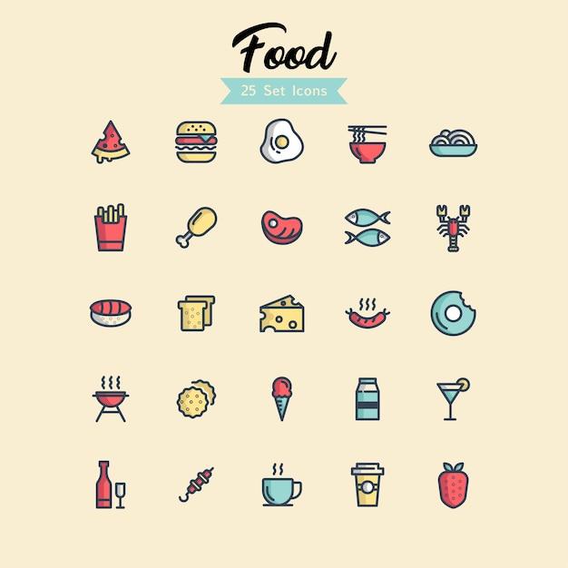 Icona di cibo imposta stili di contorno Vettore Premium