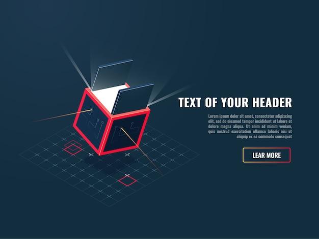 Icona di concetto di acquisto del prodotto digitale, aggiunta del gioco, blocco di archiviazione di dati Vettore gratuito