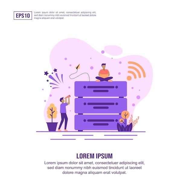 Icona di concetto di grandi dati con carattere Vettore Premium