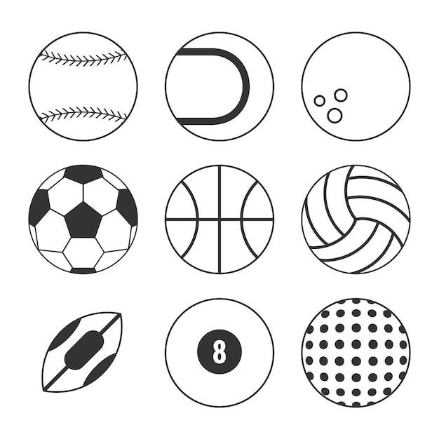 Icona di contorni palle sport Vettore Premium