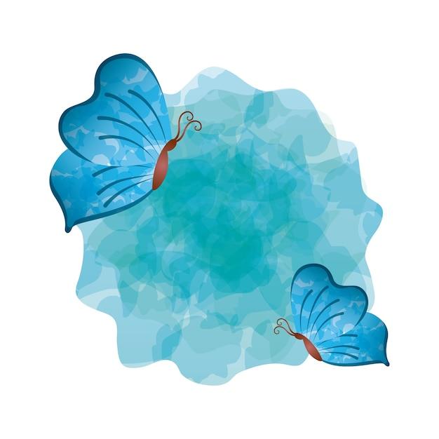 Icona Di Farfalle Blu Su Sfondo Bianco Design Colorato