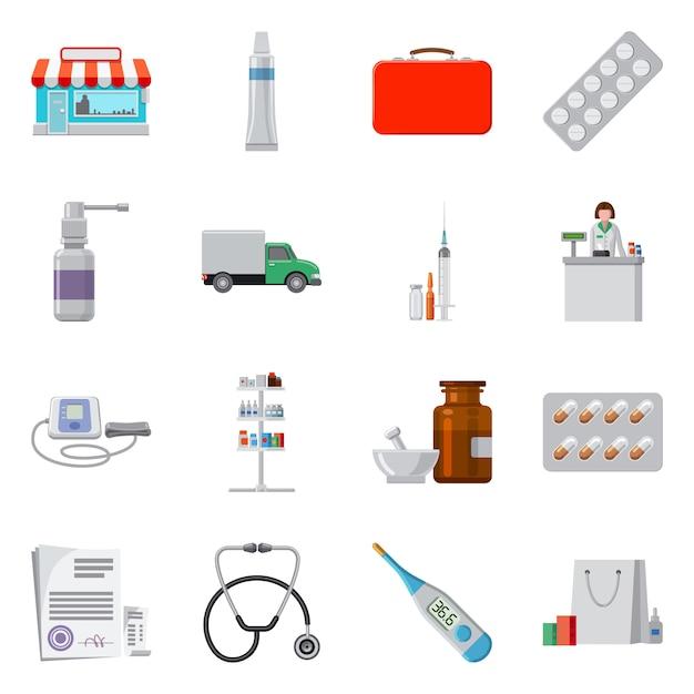 Icona di farmacia e ospedale di disegno vettoriale. impostare farmacia e stock commerciali. Vettore Premium