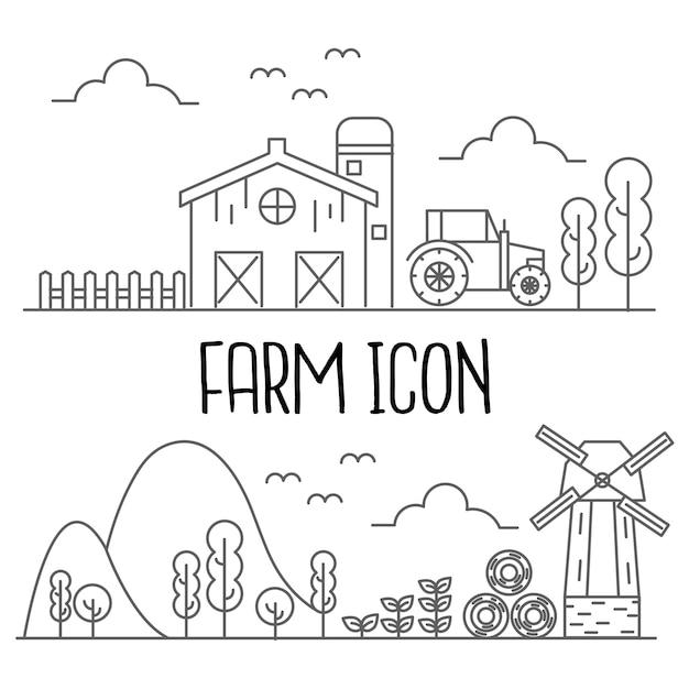 Icona di fattoria Vettore Premium