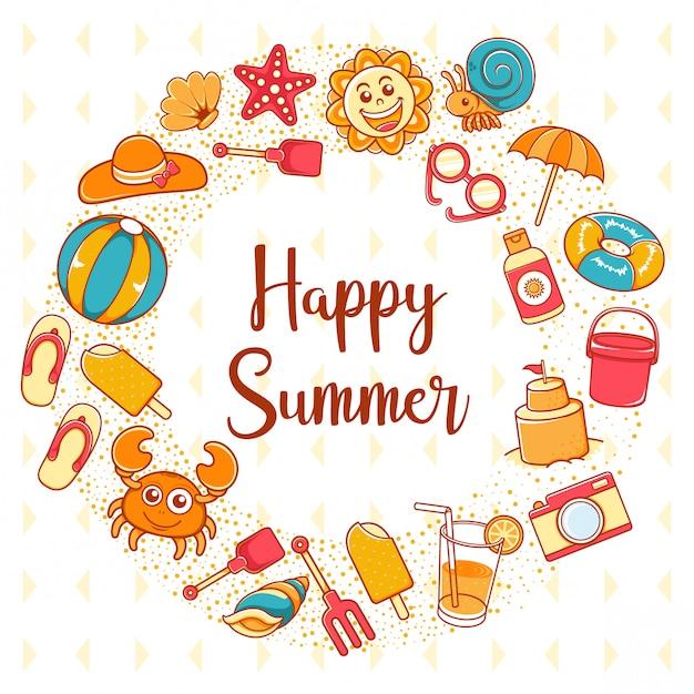 Icona di felice estate con scritta backgound Vettore Premium