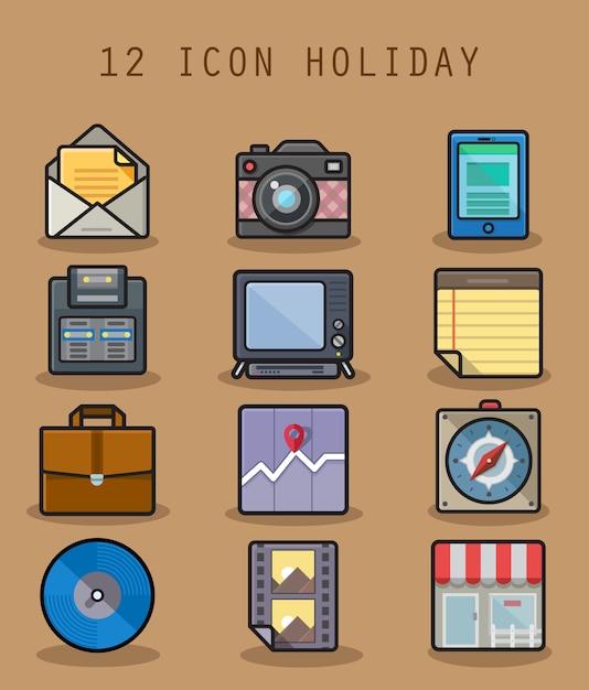 Icona di festa impostata con l'icona di 12 caratteri Vettore Premium