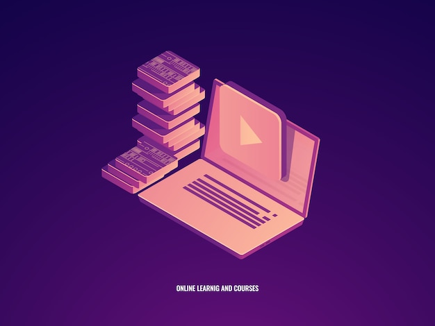 Icona di formazione online, apprendimento e corsi, laptop con il concetto di libro elettronico Vettore gratuito