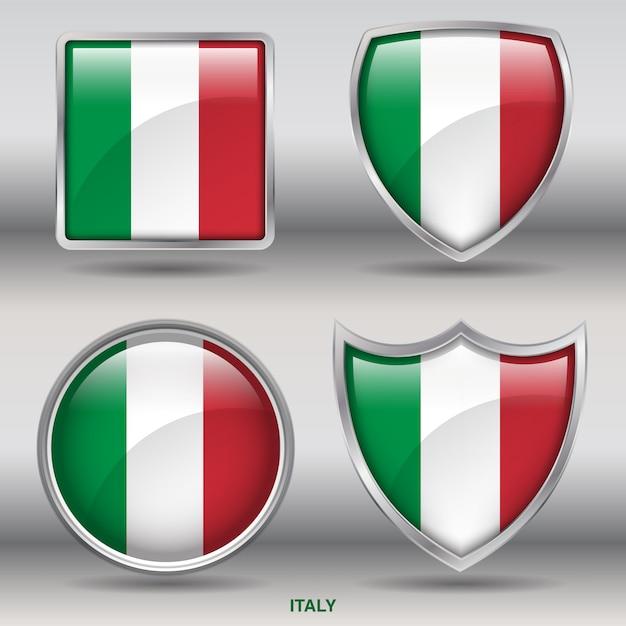 Icona di forme smussate bandiera italia Vettore Premium
