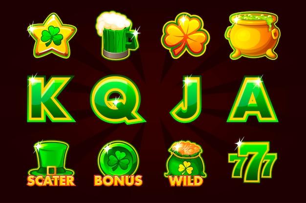 Icona di gioco dei simboli st.patrick per slot machine e lotteria o casinò. Vettore Premium