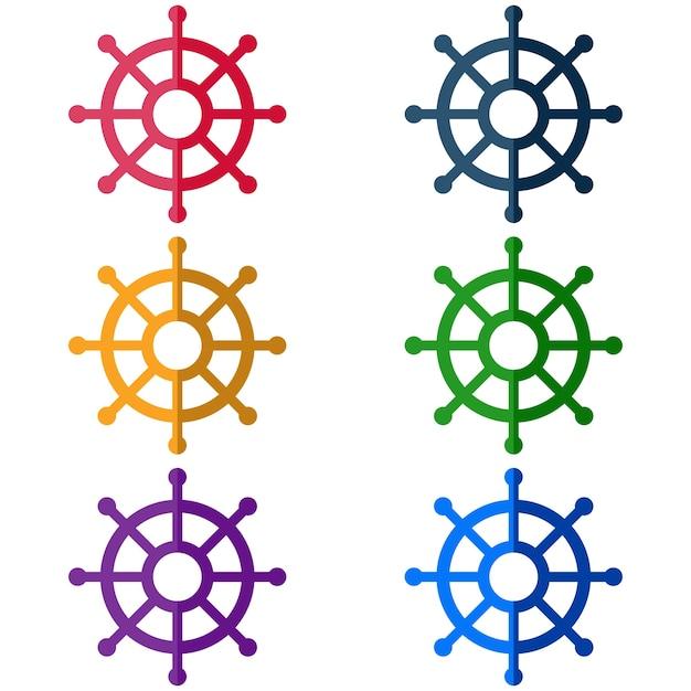 Icona di gioco tradizionale icona elemento di barca colorato direzione Vettore Premium