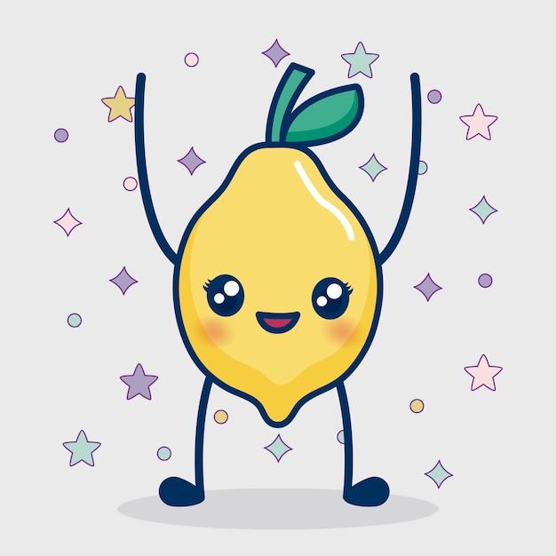 Icona di limone kawaii Vettore gratuito