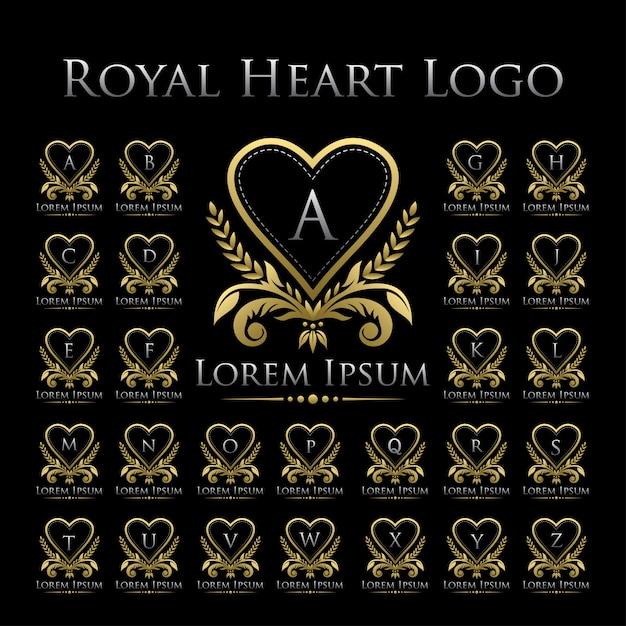 Icona di logo del cuore reale con l'insieme di alfabeto Vettore Premium