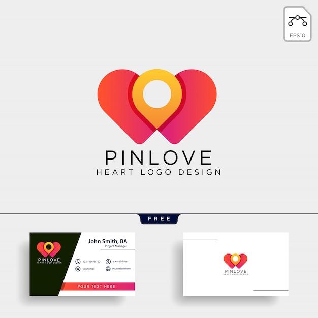 Icona di logo del punto di posizione del punto di amore isolata Vettore Premium